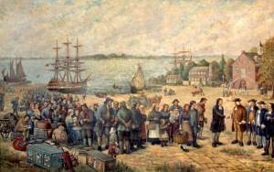 """Landing of the Schwenckfelders from the St. Andrew"" by Adolf Pannash, Collection of the Schwenkfelder Library"