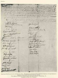Ship list from the Snow Lowther, Joseph Fisher, Master, from Rotterdam, Netherlands, qualified Oct. 14, 1731, Philadelphia, PA, last from Dover, England.
