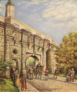 Painting by Adolf Pannash (1929) depicting Caspar Schwenckfeld voluntarily leaving the town of Liegnitz. Courtesy of the Schwenkfelder Library & Heritage Center.