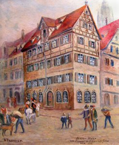 Agatha Streicher home where Schwenckfeld spent his last days. Original painting by Adolph Pannash. Courtesy of Schwenkfelder Library & Heritage Center